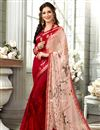 image of Peach Plain Printed Saree In Fancy Fabric With Beautiful Blouse
