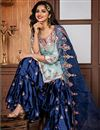 photo of Cyan Fancy Fabric Function Wear Embroidered Sharara Suit