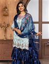 image of Cyan Fancy Fabric Function Wear Embroidered Sharara Suit