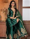 photo of Dark Green Function Wear Embroidered Sharara Suit In Fancy Fabric