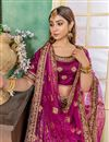 photo of Art Silk Fabric Purple Embroidery Work Reception Wear Lehenga