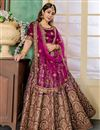 image of Art Silk Fabric Purple Embroidery Work Reception Wear Lehenga