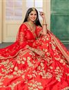 photo of Embroidery Designs On Red Satin Fabric Wedding Wear Lehenga
