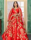 image of Embroidery Designs On Red Satin Fabric Wedding Wear Lehenga