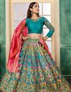 image of Art Silk Fabric Designer Embroidered Lehenga Choli In Sky Blue With Alluring Blouse