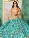 photo of Embroidery Work On Wedding Wear Bridal Lehenga In Art Silk Fabric Turquoise With Blouse