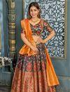 image of Weaving Work Banarasi Silk Fabric Bridal Lehenga In Navy Blue with Designer Choli