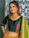 photo of Banarasi Silk Fabric Yellow Reception Wear Lehenga Choli With Weaving Work