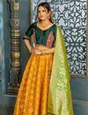 image of Banarasi Silk Fabric Yellow Reception Wear Lehenga Choli With Weaving Work
