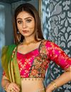 photo of Green Banarasi Silk Fabric Wedding Wear 3 Piece Lehenga Choli With Weaving Work