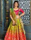 image of Green Banarasi Silk Fabric Wedding Wear 3 Piece Lehenga Choli With Weaving Work