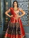 image of Banarasi Silk Fabric Designer Bridal Lehenga With Weaving Work On Navy Blue