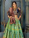 image of Sea Green Color Party Wear Lehenga Choli In Banarasi Silk Fabric With Weaving Work