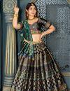 image of Banarasi Silk Fabric Navy Blue Color Occasion Wear Lehenga Choli With Weaving Work