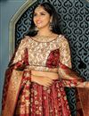 photo of Occasion Wear Lehenga In Banarasi Silk Fabric Maroon Color With Weaving Work