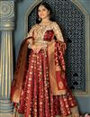 image of Occasion Wear Lehenga In Banarasi Silk Fabric Maroon Color With Weaving Work