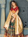 photo of Weaving Work Banarasi Silk Fabric Dark Green Color Festive Wear Lehenga Choli