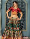 image of Weaving Work Banarasi Silk Fabric Dark Green Color Festive Wear Lehenga Choli