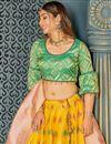 photo of Yellow Color Banarasi Silk Fabric Designer 3 Piece Lehenga Choli With Weaving Work Designs