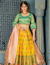 image of Yellow Color Banarasi Silk Fabric Designer 3 Piece Lehenga Choli With Weaving Work Designs