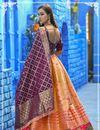 photo of Occasion Wear Peach Color Weaving Work Lehenga In Banarasi Silk Fabric With Designer Blouse