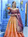 image of Occasion Wear Peach Color Weaving Work Lehenga In Banarasi Silk Fabric With Designer Blouse