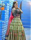 photo of Sea Green Color Weaving Work Designer Wedding Wear Banarasi Silk Fabric Lehenga