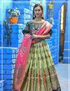 image of Sea Green Color Weaving Work Designer Wedding Wear Banarasi Silk Fabric Lehenga