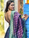 photo of Banarasi Silk Fabric Sangeet Wear Weaving Work Designer Lehenga In Navy Blue Color