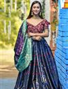 image of Banarasi Silk Fabric Sangeet Wear Weaving Work Designer Lehenga In Navy Blue Color
