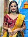 photo of Designer Dark Green Color Sangeet Wear Weaving Work Banarasi Silk Fabric Lehenga