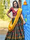 image of Designer Dark Green Color Sangeet Wear Weaving Work Banarasi Silk Fabric Lehenga