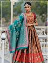 image of Banarasi Silk Fabric Wedding Wear 3 Piece Lehenga In Light Brown Color With Jacquard Dupatta