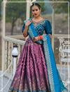 image of Violet Color Banarasi Silk Fabric Reception Wear Lehenga Choli With Jacquard Dupatta