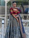 image of Grey Color Designer Wedding Lehenga With Jacquard Dupatta