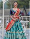 image of Weaving Work Wedding Wear Lehenga Choli In Cyan Color Banarasi Silk Fabric With Jacquard Dupatta