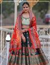 image of Banarasi Silk Fabric Sangeet Wear Lehenga With Jacquard Dupatta