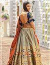 photo of Banarasi Silk Fabric Dark Beige Color Designer 3 Piece Lehenga Choli With Jacquard Dupatta