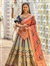image of Banarasi Silk Fabric Dark Beige Color Designer 3 Piece Lehenga Choli With Jacquard Dupatta