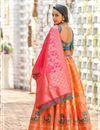 photo of Orange Color Weaving Work Banarasi Silk Fabric Wedding Wear Lehenga With Jacquard Dupatta