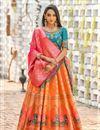 image of Orange Color Weaving Work Banarasi Silk Fabric Wedding Wear Lehenga With Jacquard Dupatta