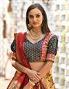 photo of Orange Color Banarasi Silk Fabric Weaving Work Reception Wear Lehenga With Jacquard Dupatta