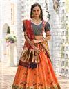 image of Orange Color Banarasi Silk Fabric Weaving Work Reception Wear Lehenga With Jacquard Dupatta