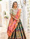 image of Weaving Work Designs Banarasi Silk Fabric Dark Green Color Wedding Wear Lehenga With Jacquard Dupatta