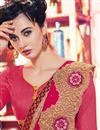 photo of Pink Color Designer Saree In Georgette And Net Fabric With Embroidery Work