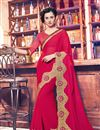 image of Pink Color Designer Saree In Georgette And Net Fabric With Embroidery Work