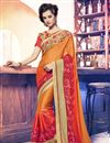 image of Orange Color Designer Saree In Georgette And Net Fabric With Embroidery Work