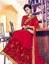 photo of Red Color Beautifully Embroidered Saree With Designer Unstitched Blouse