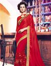 image of Red Color Beautifully Embroidered Saree With Designer Unstitched Blouse