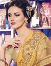 photo of Beige Color Soothing Georgette And Net Saree With Embroidery Work